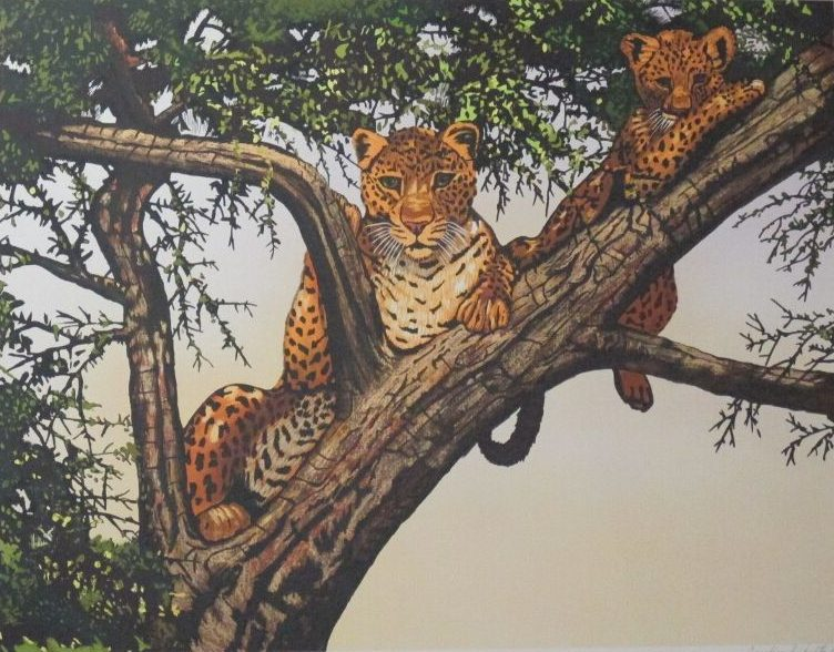 Leopards in a tree