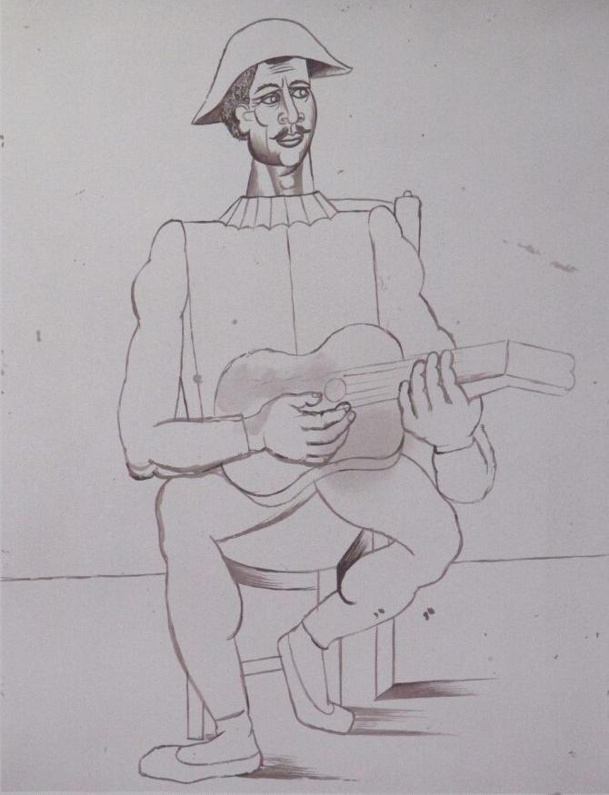 Arlequin moustache a la guitare